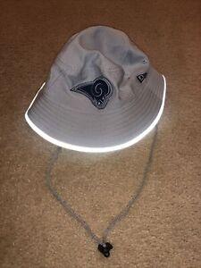New Era NFL LA Rams Gray  Training Bucket Hat Men's Sz M/L NWOT Reflective Brim