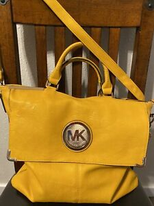 Michael Kors yellow leather extra large tote carry all