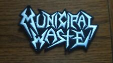 MUNICIPAL WASTE,IRON ON WHITE EMBROIDERED PATCH