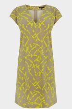 Stunning Warehouse Yellow & Grey Print Shift Evening Occasion Dress Size 8