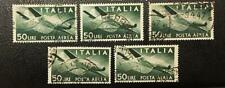 ITALY.1946. 5 X 50L. AIR MAIL GREEN USED. SASSONE# A132. CAT.VAL. 100 EUROS.