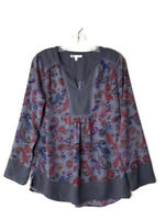 DR2 Women's Top Blouse Shirt Blue Paisley Peasant Boho Long Sleeve Size Small S