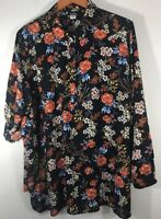 Simply Emma 2X Tunic Navy Blue Floral Roll Up Long Sleeve Fashion Blouse Top NEW