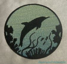 Embroidered Dolphin Ocean Silhouette Blue Ombre Circle Patch Iron On Sew On USA