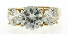 Ladies Three Stone Cubic Zirconia Ring in 10 kt Yellow Gold