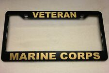 Military License Plate Frame, Polished ABS-VETERAN/ MARINE CORPS-842328G