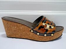 4e2124e699c271 TORY BURCH Pamela leopard print patent leather wedge sandals size 10