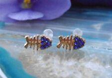 Ear Studs Earrings Fish Bone Fish Bone Gold Plated with Crystal Dark Blue