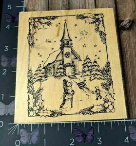 PSX Designs Victorian Winter Church Rubber Stamp 1997 K2343 Wood #AJ83