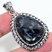 "Gabbro Agate Gemstone  Ethnic 925 Silver Jewelry Pendant 2.17"" AL-279"