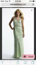 Dave & Johnny Mint Prom Dress Sz 0 NWT Beads Sheer Neckline Engagement Wedding