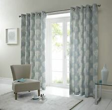 Cottage Tree Design Duck Egg Eyelet Top Fully Lined Ready Made Curtains 66x90 WDSDE66906LUR