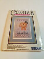 Bernat Counted Cross Stitch Kit Wedding Bears 14 Count Aida Unopened 8 X 12