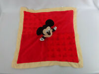 """Mickey Mouse Lovey Security Blanket Plush Disney Baby Yellow Red 14"""" x 14"""""""