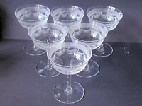 ENGLISH EDWARDIAN GLASS - SET OF 6 CHAMPAGNE GLASSES (Ref5243)