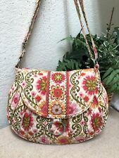 Vera Bradley Folkloric Crossbody Bag Large Pink Floral Quilted Adjustable Strap