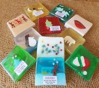 Christmas Tree Holly Snowman Reindeer Fragranced Handmade Slice Soap Bar 100g