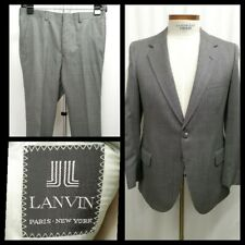Vintage Lanvin Size US 38  R/S Men's Suit Flat Front Wool gray windowpane plaid