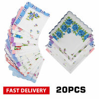 Ladies Handkerchiefs 100% Cotton Hankies 20PCS Hankerchief Pocket Vintage Flower