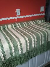 new handmade crocheted afghan done in sage green and ivory.