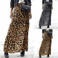 Damen Mode Lang Rock Kleid Maxikleid Elastische Taille Partykleid Leopard Röcke