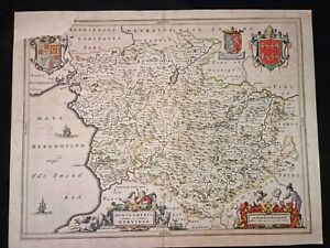 1664 FOLIO SIZE Original MAP BLEAU Wales HAND COLOUR Montgomeria Comitatus