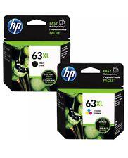 2x Genuine HP63XL ink cartridges F6U63AA black+F6U64AA colour for HP2130,3630