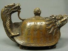 Collection Chinese dragon carving old copper teapot 15x8.3x10 cm