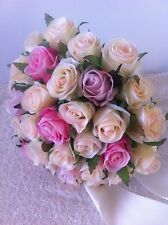IVORY& PINK &ORCHID ROSES POSY 38 BUDS WEDDING  BOUQUET ARTIFICIAL SILK FLOWER
