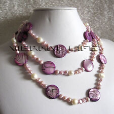 """52"""" 5-20mm White Purple Shell Freshwater Pearl Necklace Jewelry U"""