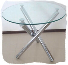 Criss Cross Chrome Round 1000mm Glass Top Dining Table  - BRAND NEW