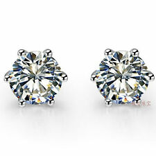 Earrings Stud Genuine Sterling Silver 0.5Ct/Piece Round Six Prongs Diamond Women