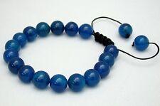 Men's Shamballa bracelet all 10mm dark BLUE agat stone beads