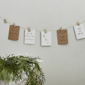 Christmas Card Holder Bunting | Wooden Tree Pegs Festive Hanging Decoration 5m