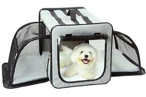 Pet Life Capacious Dual-Expandable Wire Folding Travel Pet Crate, Size S, Gray