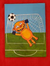Soccer. Goalkeeper. Acrilyc on canvas 18x24 cm Hand Painted style Vasya Lozhkin