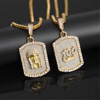 "Mens Medallion Pharaoh 100 Points Gold 26"" Cuban Curb Chain Pendant Necklace"