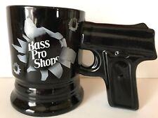 Bass Pro Shops Pistol Handle Gun Mug Bullet Holes Coffee Cup