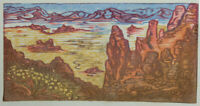 Original Art Color Japanese Woodblock Print Valley of Fire 2 Southwest Landscape