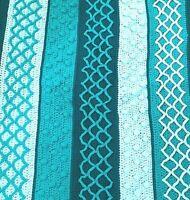 "Handmade Multi-Stitch Crochet Afghan Teal 52"" x 43"" Throw Blanket"