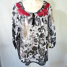 One World Sheer Tunic Peasant Top Shirt  Women Size S Paisley Floral 3/4 Sleeve