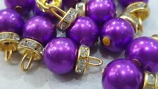 1cm- 10 Beautiful round glass pearl with gold diamante handmade buttons beads