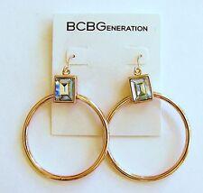 Nuevo Bcbg Generación Oro Rosa Aro Estilo + Cristal Earrings-bc40349