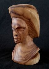 Vintage Fiji heavy wood bust by Vili, 9.5 inches