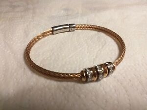 STAINLESS  STEEL+ROSE GOLD PLATED 2 CABLE+ DIAMANTE RONDELLS BRACELET BY FOSSIL.