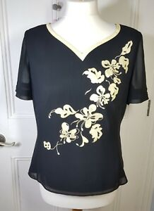 Jacques Vert Black & gold evening top Size 10 chiffon effect applique embroidery