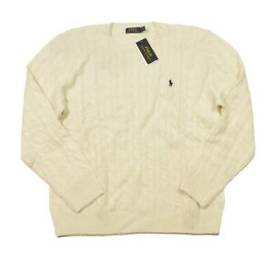 Polo Ralph Lauren Men's Chic Cream Cable Knit Wool Cashmere Pullover Sweater