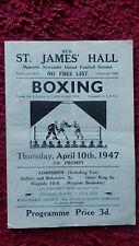 BOXING PROGRAMME - JIM BRADY V GINGER BILLY TODD- ST. JAMES HALL-NEWCASTLE-1947