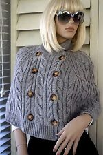 MICHAEL KORS CAPE Gray Lambswool Cable Knit Sweater Double Breasted Waist Jacket