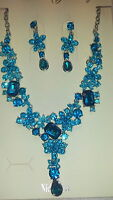 Turquoise  Diamante Flower crystal Necklace & earrings set Silver colour chain